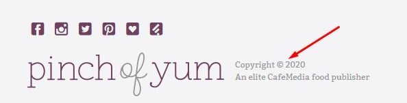 Pinch of Yum website footer with copyright notice highlighted