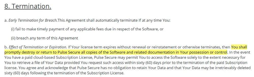 PulseSecure EULA: Termination clause