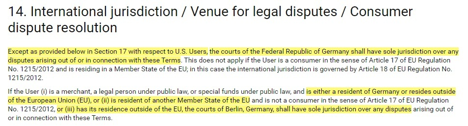 ResearchGate Terms of Service: International jurisdiction - Governing law clause