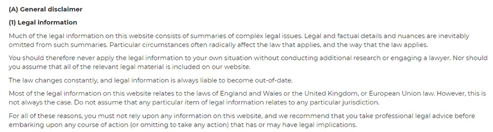 SEQ Legal Terms and Conditions: General Disclaimer - Legal Information clause