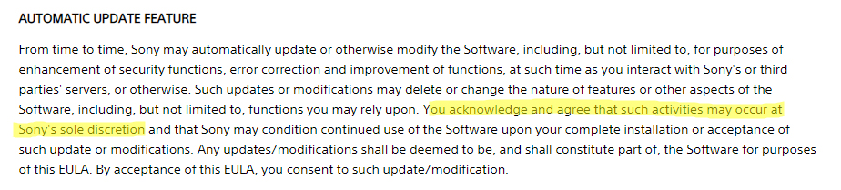 Sony EULA: Automatic Update Feature clause