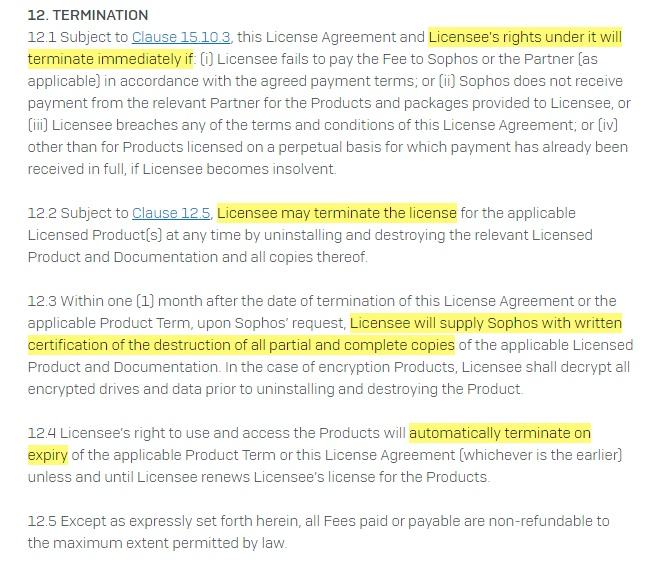 Sophos EULA: Termination clause