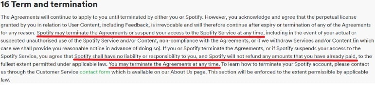 Spotify UK Terms and Conditions: Term and Termination clause