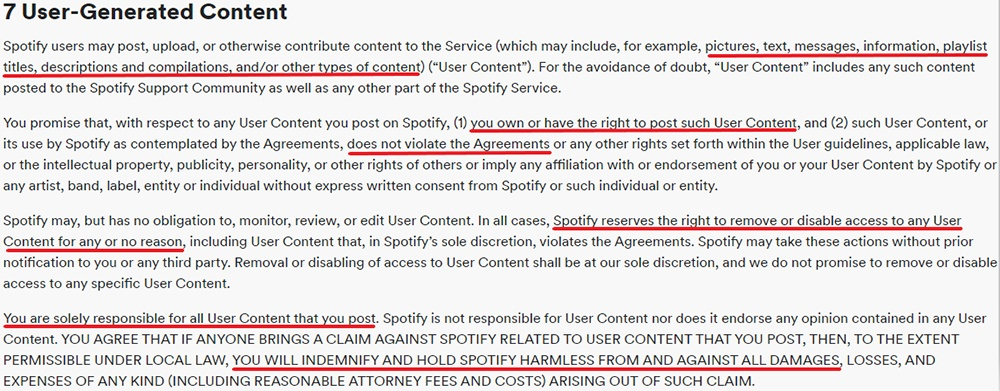 Spotify UK Terms and Conditions: User-Generated Content clause