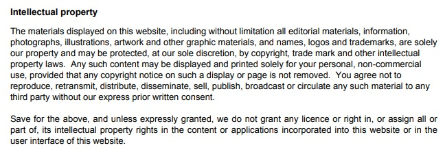 Star RV Terms and Conditions: Intellectual Property clause
