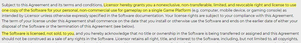 Take-Two Games EULA: License clause excerpt