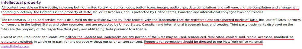 Tarte Cosmetics Terms and Conditions: Intellectual Property clause