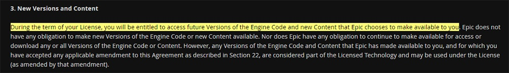 Unreal Engine EULA: New Versions and Content clause