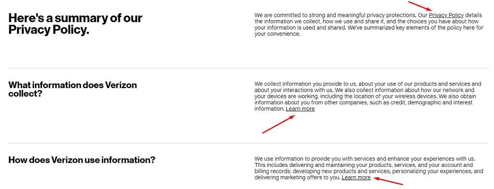 Verizon Privacy Policy- Summary Excerpt