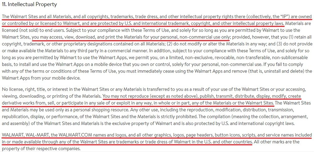 Walmart Terms of Use: Intellectual Property clause