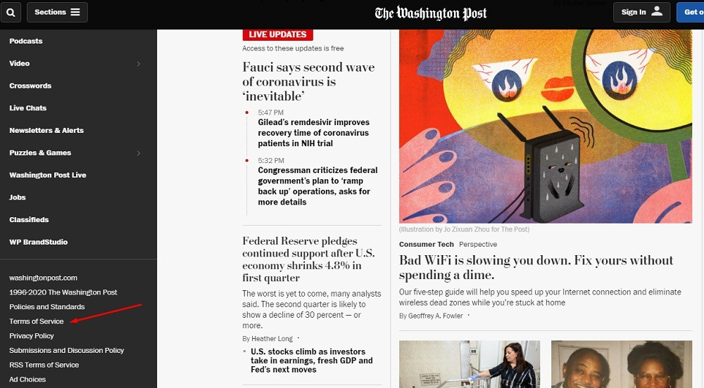 Washington Post homepage with Terms of Service link highlighted
