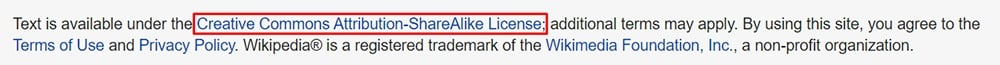 Wikipedia Creative Commons license notice example