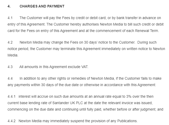 World IP Review Terms of Subscription: Charges and Payment clause