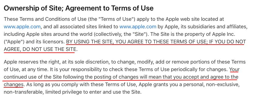Apple Website Terms of Use: Ownership of Site and Agreement to Terms of Use clause
