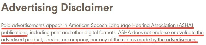 ASHA Advertising Disclaimer excerpt