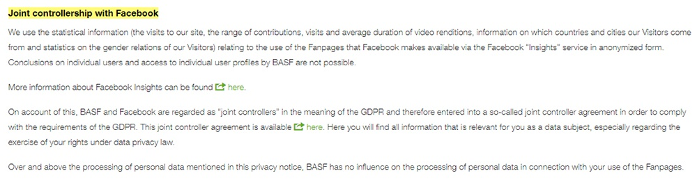 BASF Social Media Data Protection Policy: Joint controllership with Facebook clause