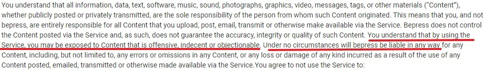 Bepress Terms of Service: Offensive content disclaimer