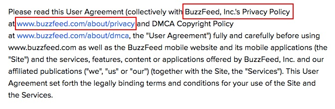 BuzzFeed User Agreement: Intro clause