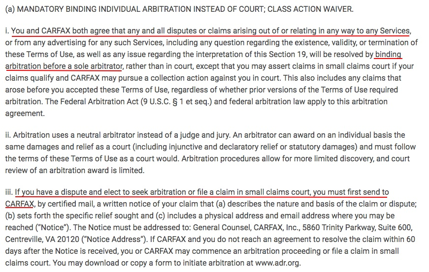 CARFAX Terms of Use: Arbitration clause
