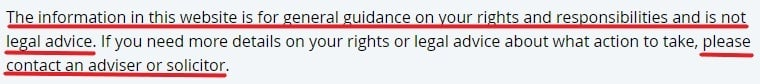 Citizens Advice Disclaimer and Copyright: Legal Advice disclaimer