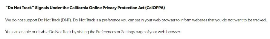 Clearsale Privacy Policy: DNT CalOPPA clause