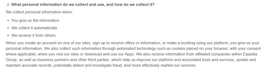 Expedia Privacy Statement: What personal information do we collect and use, and how do we collect it clause