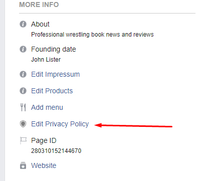 Facebook Page dashboard - More Info with Edit Privacy Policy highlighted