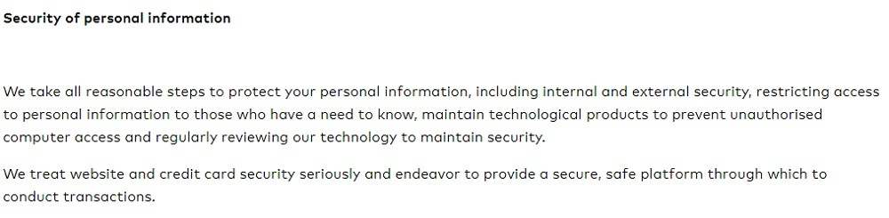Friend of Franki Privacy Policy: Security of Personal Information clause