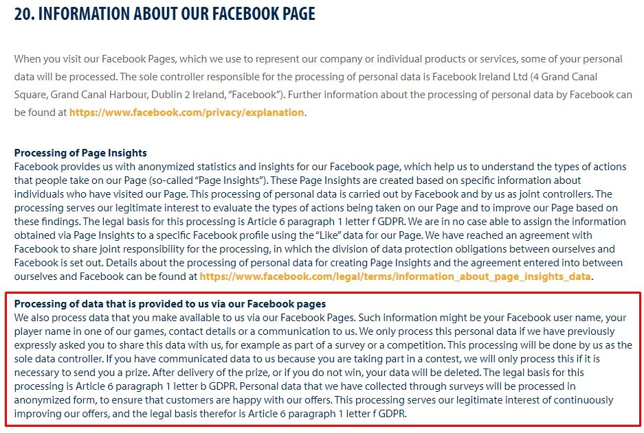 Good Game Studios Privacy Policy: Information about our Facebook Page clause with Processing data provided to us via Facebook Pages section highlighted