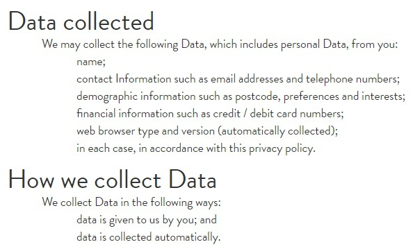 Henry J Socks Privacy Policy: Data Collected and How we Collect Data clauses