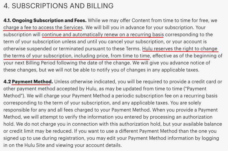 Hulu Terms of Use: Subscriptions and Billing clause