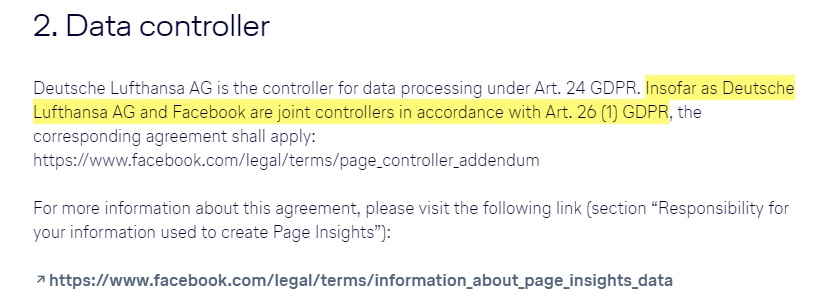 Lufthansa Privacy Policy for the Facebook Page: Data Controller clause