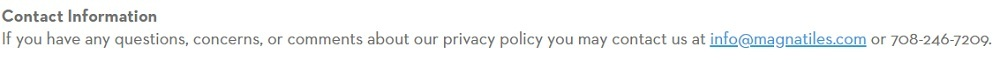 Magna-Tiles Privacy Policy: Contact Information clause