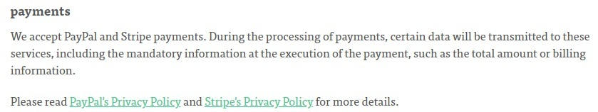 Minipop Privacy Policy: Payments clause