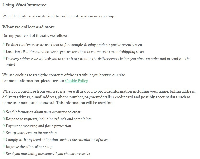 Minipop Privacy Policy: Using WooCommerce clause