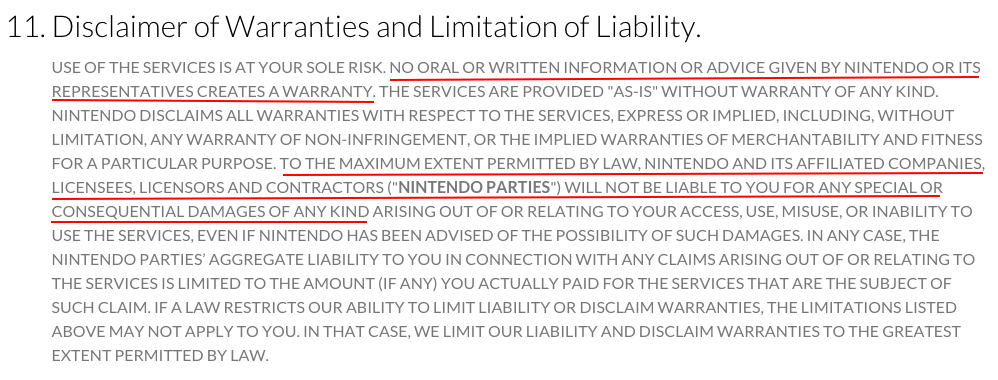 Nintendo Terms of Use: Disclaimer of Warranties and Limitation of Liability