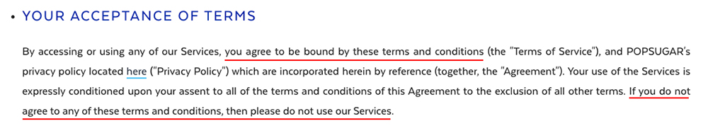Popsugar Terms of Service: Acceptance of Terms clause