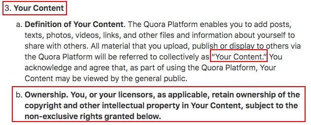 Quora Terms of Service: Your Content and Ownership clause