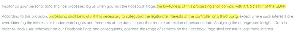 Romantic Germany Privacy Policy for Facebook Fanpages: Page Insights clause - Lawfulness of processing personal data excerpt
