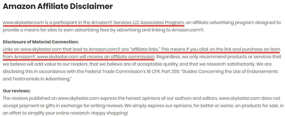 Skylaster Amazon Affiliate Disclaimer