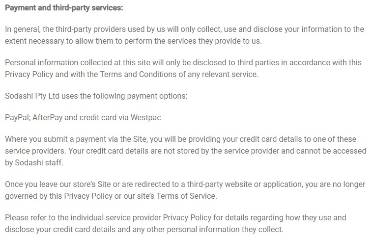 Sodashi Skincare Privacy Statement: Payment and third-party services clause