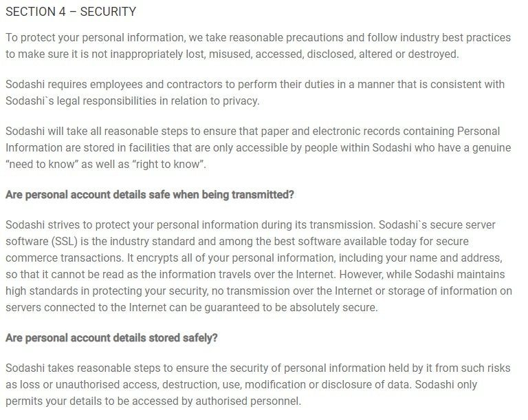 Sodashi Skincare Privacy Statement: Security clause