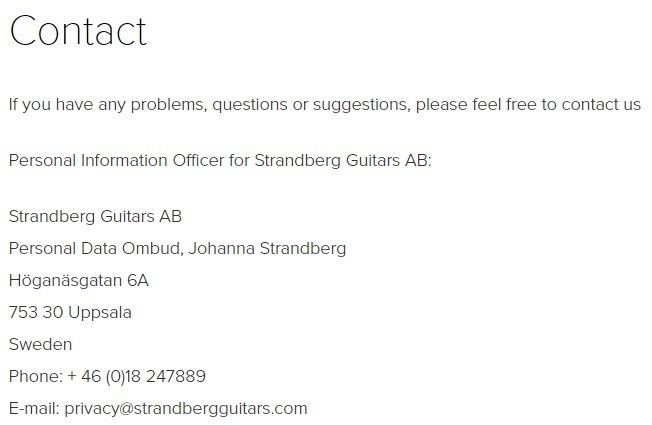 Strandberg Guitars Privacy Policy: Contact clause