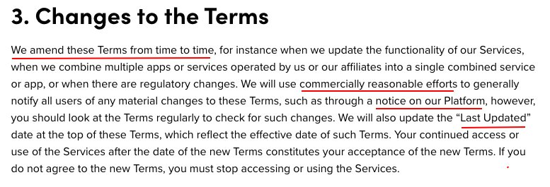 TikTok Terms of Service: Changes to the Terms clause