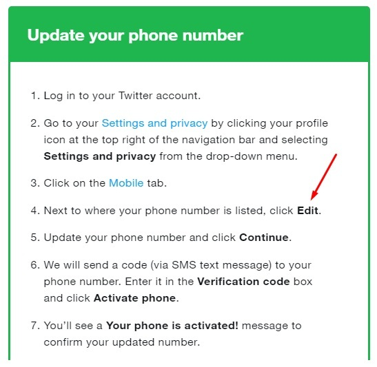 Twitter Help: Update phone number instructions