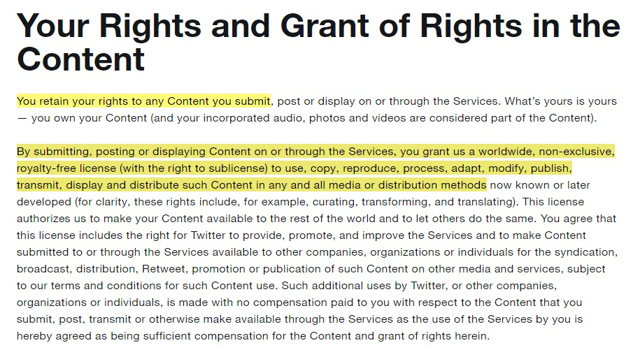 Twitter Terms of Service: Your Rights and Grant of Rights in the Content clause