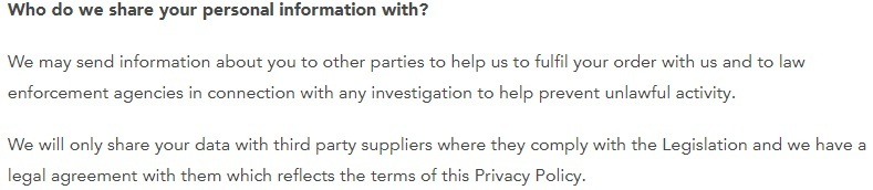 Wool Couture Privacy Policy: Who do we share your personal information with clause