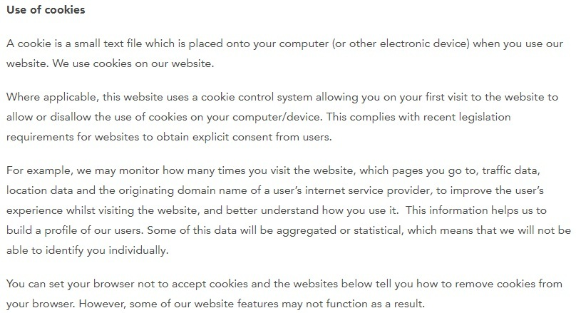 Wook Couture Privacy Policy: Use of Cookies clause