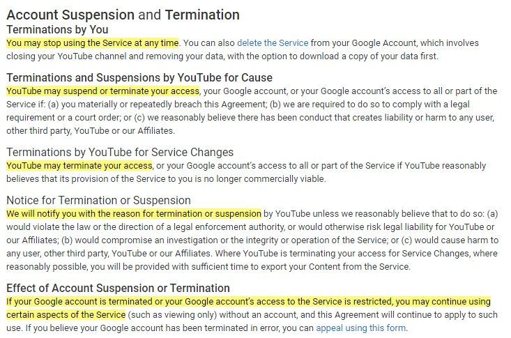 YouTube Terms of Service: Account Suspension and Termination clause