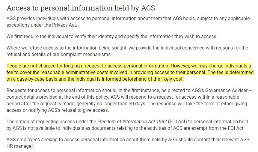 AGS Privacy Policy: Access to personal information held by AGS clause - Charge fee section